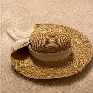 Nine West Wide Brim Hat w/Bow NWT